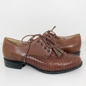 Ariat Oxford Brown Leather Lace Up Horsehair 7.5B